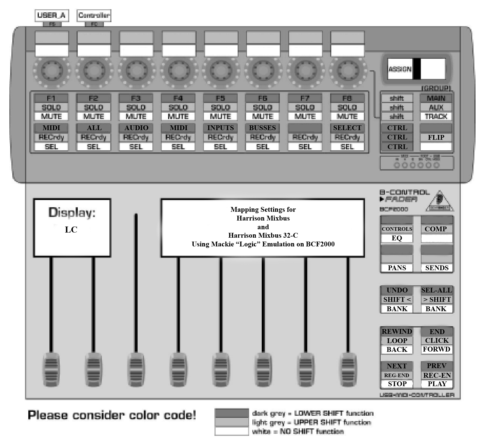 Behringer BCF2000 Controller with Mappings for Harrison Mixbus 4 and 32c
